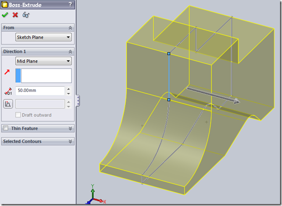 how to do an extruded cut in solidworks 2015